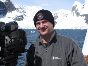 Mark Terry filming The Antarctica Challenge