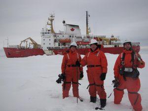 Amunsden Crew on Ice - From Left, Damir Chytil, Mark Terry and Steve McNamee