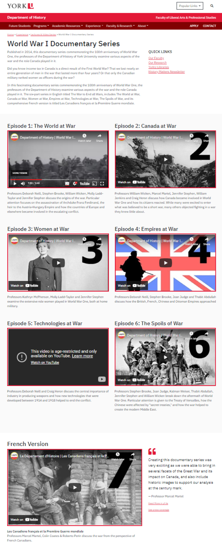 https://www.yorku.ca/laps/hist/experience/lectures-video-series/world-war-i-documentary-series/